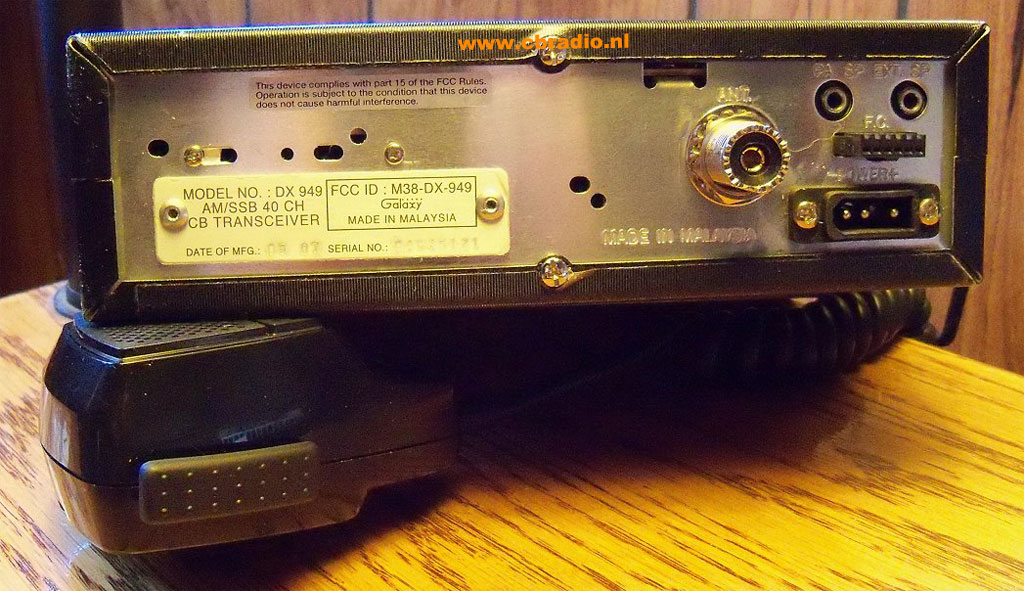 www cbradio nl: Pictures and Specifications Galaxy DX 949 AM